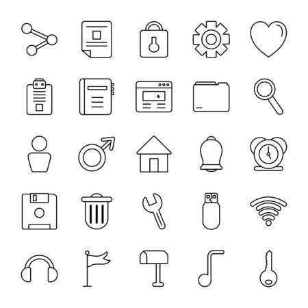 alarm clock and web symbols icon set over white background, line style, vector illustration Ilustracje wektorowe
