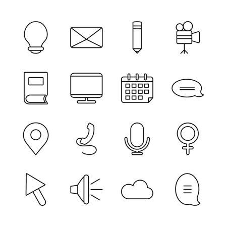 computer and web icons set over white background, line style, vector illustration Ilustracje wektorowe
