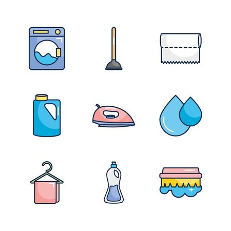 toilet pump and cleaning products icon set over white background, line fill style, vector illustration
