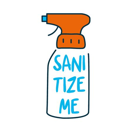 sanitizeme lettering design with antibacterial spray bottle icon over white background, vector illustration Vectores