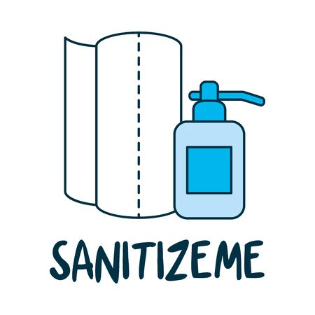 sanitizeme lettering design with paper towels and soap bottle icon over white background, vector illustration