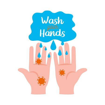 wash your hands lettering design with infected hands icon over white background, vector illustration