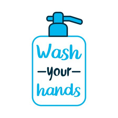 wash your hands lettering design with soap bottle icon over white background, vector illustration