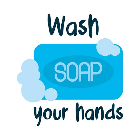 wash your hands lettering design with soap bar icon over white background, vector illustration