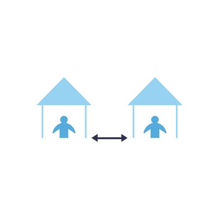 Social distancing between human avatars at houses flat style icon design of Covid 19 virus theme Vector illustration