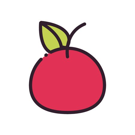 Apple fill and line style icon design, Fruit healthy organic food sweet and nature theme Vector illustration