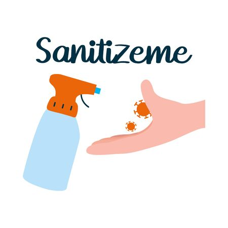 sanitizeme lettering desing with antibacterial spray bottle and hand icon over white background, vector illustration Vectores