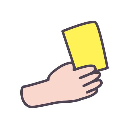 hand with yellow card line and fill style icon design, Soccer football sport hobby competition and game theme Vector illustration
