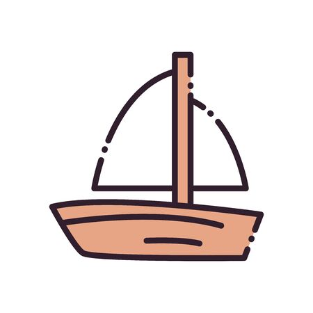 Sailboat fill and line style icon design, Boat nautical transportation marine sea summer ocean and travel theme Vector illustration
