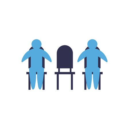 Social distancing between human avatars on chairs flat style icon design of Covid 19 virus theme Vector illustration