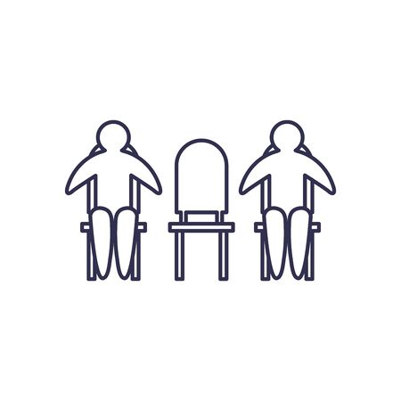Social distancing between human avatars on chairs line style icon design of Covid 19 virus theme Vector illustration