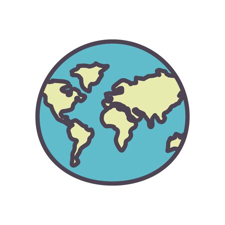 World sphere line and fill style icon design, Planet continent earth and globe theme Vector illustration