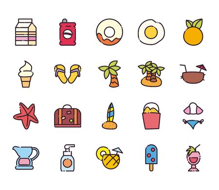 fill and line style icon set design, Summer vacation and tropical theme Vector illustration