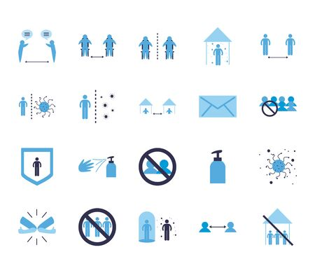 Social distancing flat style icon set design of Covid 19 virus theme Vector illustration