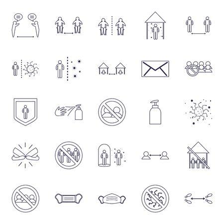 Social distancing line style icon set design of Covid 19 virus theme Vector illustration