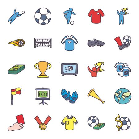 line and fill style icon set design, Soccer football sport hobby competition and game theme Vector illustration Çizim