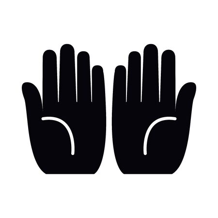 prayer hands silhouette style icon design, Religion culture belief religious faith god spiritual meditation and traditional theme Vector illustration Vektorové ilustrace