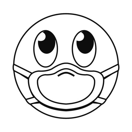 rolling eyes emoji with mask line style icon design of medical care and covid 19 virus theme Vector illustration