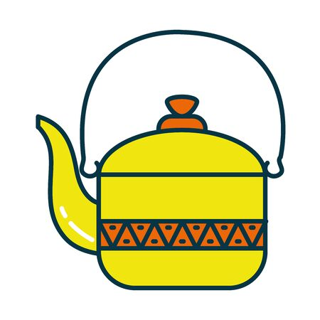 Indian teapot line and fill style icon design, India culture travel and asia theme Vector illustration
