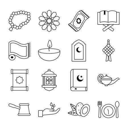 Eid mubarak line style icon set design, Islamic religion culture and belief theme Vector illustration
