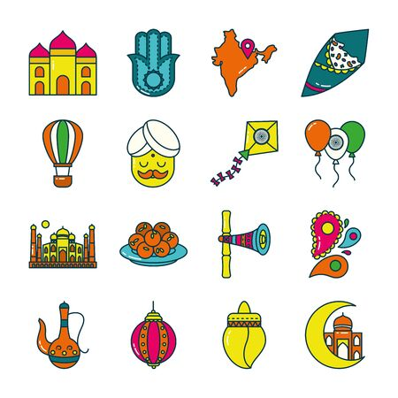 Indian line and fill style icon set design, India culture travel and asia theme Vector illustration Illustration