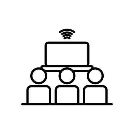 laptop computer and pictogram people icon over white background, line style, vector illustration Ilustração