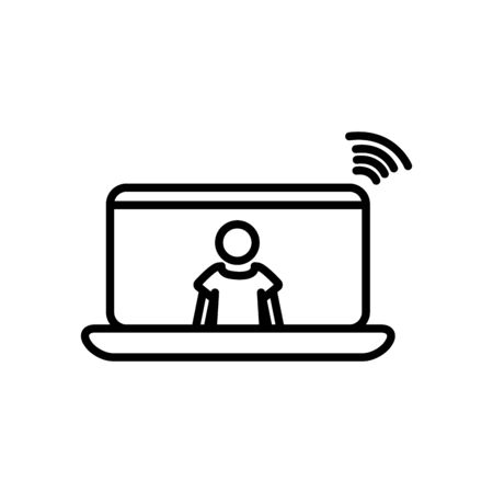 laptop computer with pictogram man on screen and wifi signal icon over white background, line style, vector illustration Ilustração
