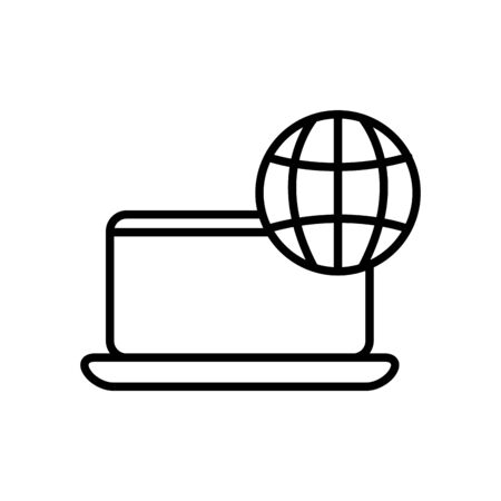 laptop computer with global sphere icon over white background, line style, vector illustration