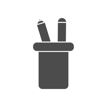 mug holder with pencils icon over white background, silhouette style, vector illustration