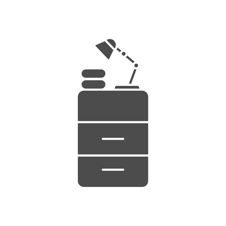 desk lamp on file cabinet icon over white background, silhouette style, vector illustration