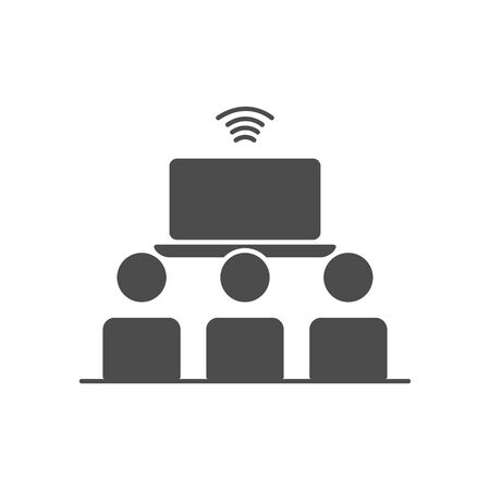 laptop computer and pictogram people icon over white background, silhouette style, vector illustration Ilustração