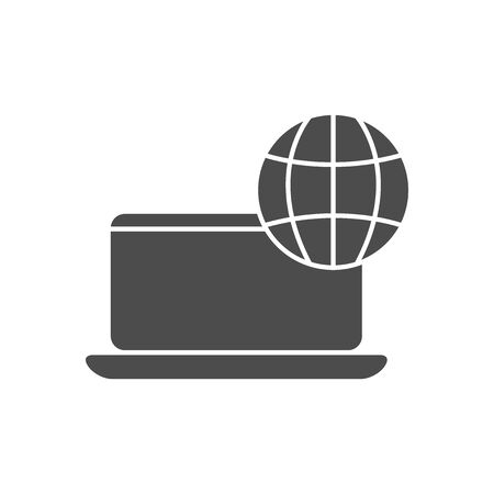 laptop computer with global sphere icon over white background, silhouette style, vector illustration