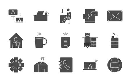 envelope, work and technology icon set over white background, silhouette style, vector illustration