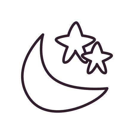 Ramadan moon with star line style icon design, Islamic muslim religion culture belief religious faith god spiritual meditation and traditional theme Vector illustration