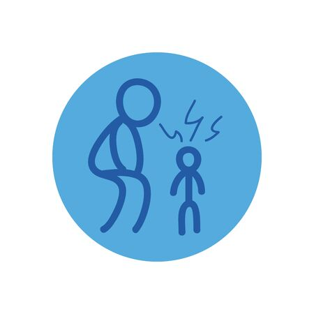 Stickfigure of parent and kid with fever block style icon design of Medical care and covid 19 virus theme Vector illustration