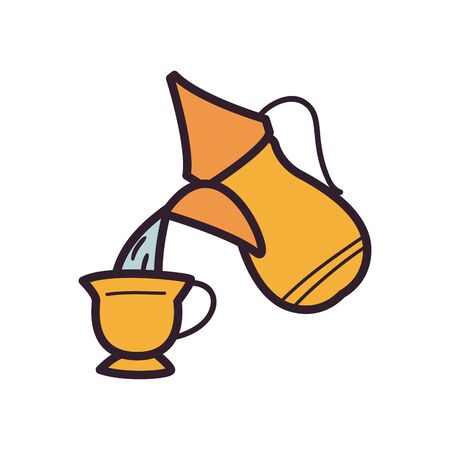 Indian tea pot and cup fill style icon design, Culture travel india country asia national tourism and religion theme Vector illustration