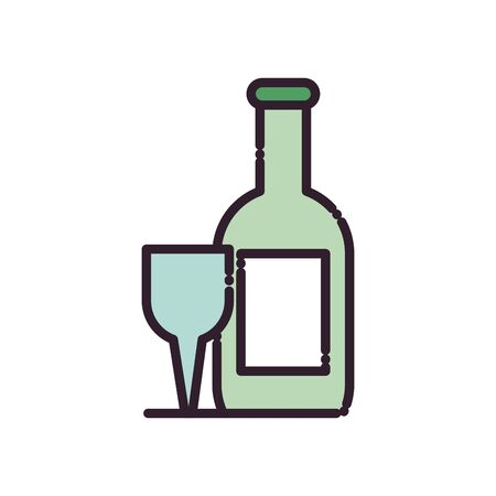 Wine bottle and cup fill style icon design, Winery alcohol drink beverage restaurant and celebration theme Vector illustration Illustration