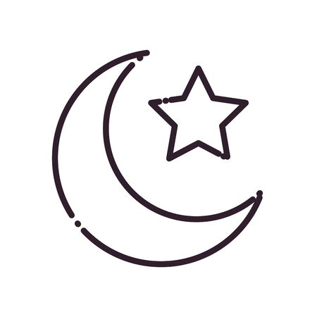 Ramadan moon with star line style icon design, Islamic muslim religion culture belief religious faith god spiritual meditation and traditional theme Vector illustration Archivio Fotografico - 149982285