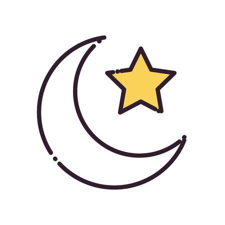 Ramadan moon with star fill style icon design, Islamic muslim religion culture belief religious faith god spiritual meditation and traditional theme Vector illustration