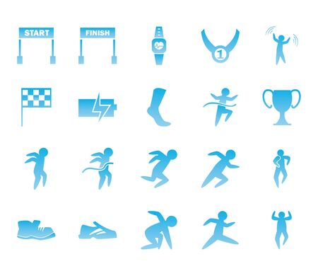 Running gradient style icon set design, Marathon athlete training and fitness theme Vector illustration