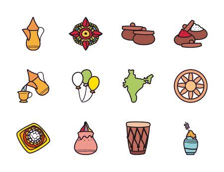 Raksha bandhan fill style icon set design, Indian holiday celebration and culture theme Vector illustration Illustration