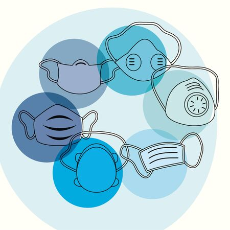 masks set with blue circles design of Medical care and covid 19 virus theme Vector illustration