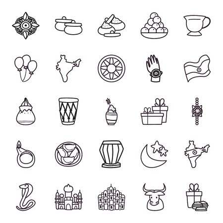 Raksha bandhan line style icon set design, Indian holiday celebration and culture theme Vector illustration