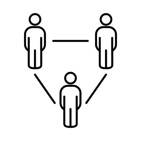 social distancing concept, pictogram people keeping the distance over white background, line style, vector illustration