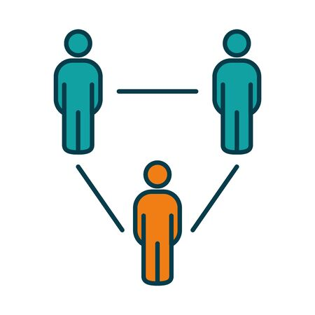 social distancing concept, pictogram people keeping the distance over white background, line and fill style, vector illustration