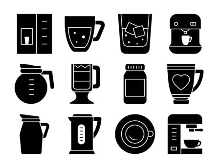 coffee machines and coffee drinks icon set over white background, silhouette style, vector illustration