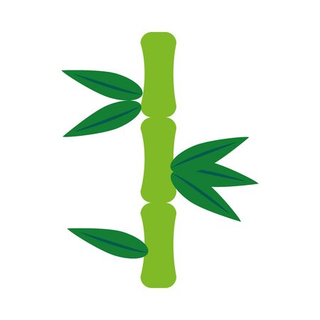 bamboo leaves icon over white background, flat style, vector illustration