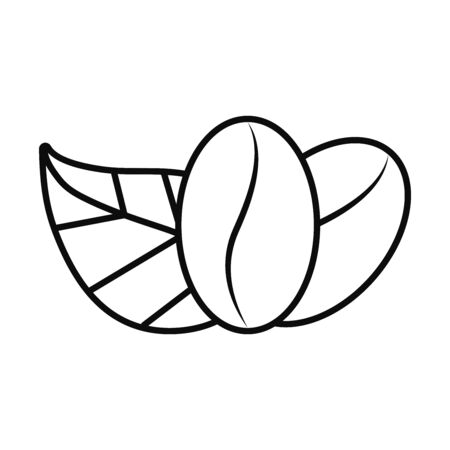 coffee beans and leaves icon over white background, line style, vector illustration
