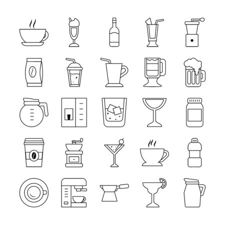wine glass and coffee drinks icon set over white background, line style, vector illustration Vettoriali