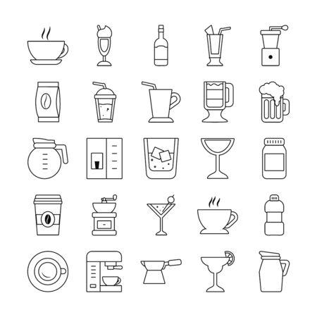 wine glass and coffee drinks icon set over white background, line style, vector illustration Ilustração Vetorial